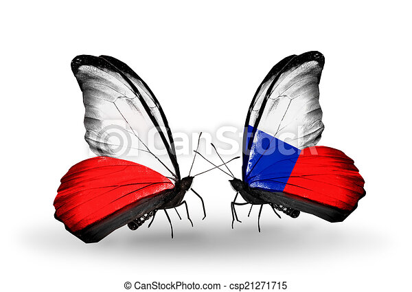 Two butterflies with flags on wings as symbol of relations Poland and Czech - csp21271715