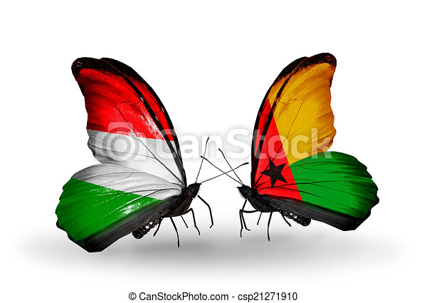 Two butterflies with flags on wings as symbol of relations Hungary and Guinea Bissau - csp21271910