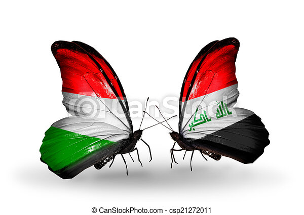Two butterflies with flags on wings as symbol of relations Hungary and Iraq - csp21272011