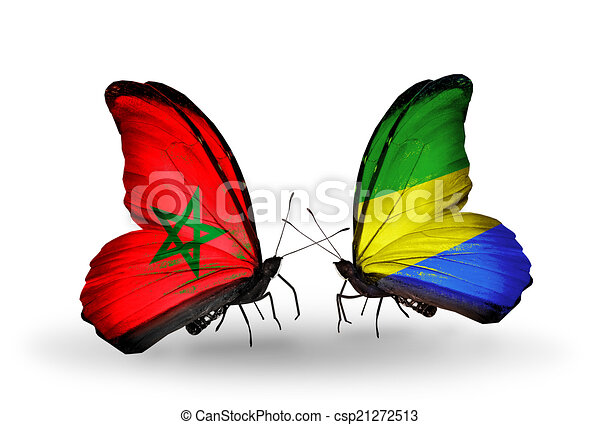 Two butterflies with flags on wings as symbol of relations Morocco and Gabon - csp21272513
