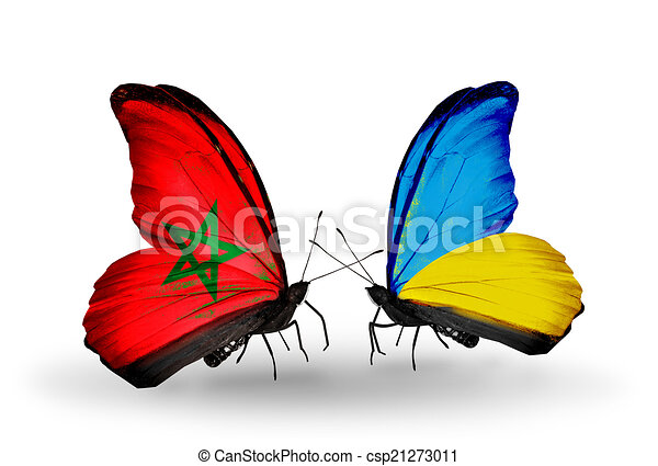 Two butterflies with flags on wings as symbol of relations Morocco and Ukraine - csp21273011