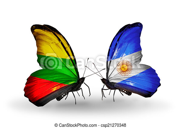 Two butterflies with flags on wings as symbol of relations Lithuania and Argentina - csp21270348