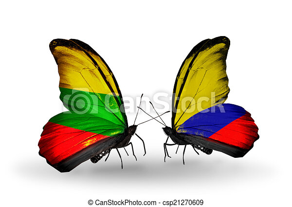 Two butterflies with flags on wings as symbol of relations Lithuania and Columbia - csp21270609