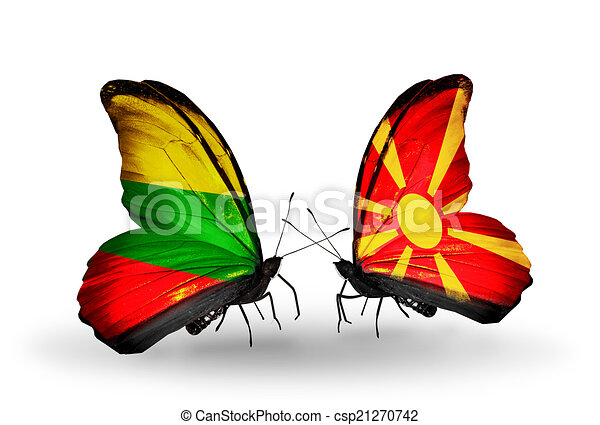 Two butterflies with flags on wings as symbol of relations Lithuania and Macedonia - csp21270742