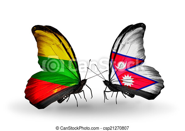 Two butterflies with flags on wings as symbol of relations Lithuania and Nepal - csp21270807