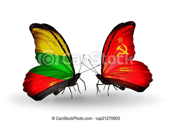 Two butterflies with flags on wings as symbol of relations Lithuania and Soviet Union - csp21270903
