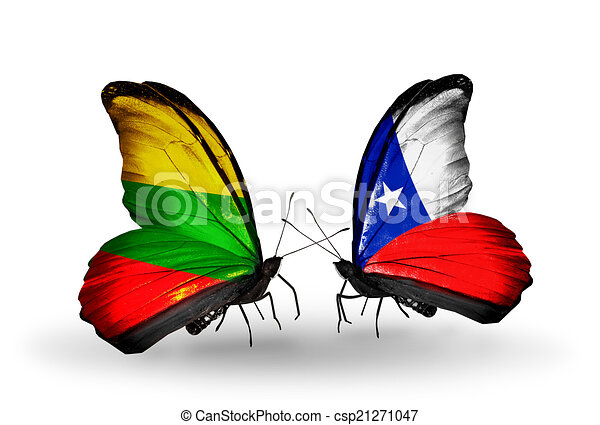 Two butterflies with flags on wings as symbol of relations Lithuania and Chile - csp21271047
