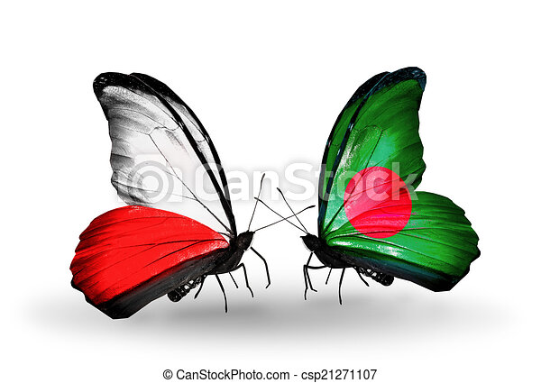 Two butterflies with flags on wings as symbol of relations Poland and Bangladesh - csp21271107