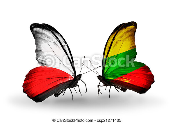 Two butterflies with flags on wings as symbol of relations Poland and Lithuania - csp21271405