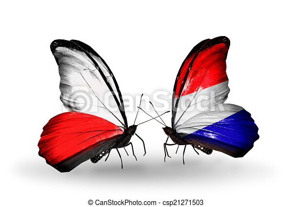 Two butterflies with flags on wings as symbol of relations Poland and Holland - csp21271503