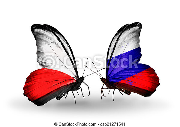 Two butterflies with flags on wings as symbol of relations Poland and Russia - csp21271541