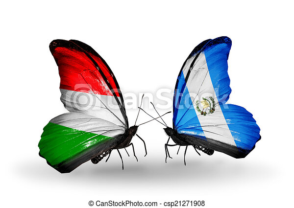 Two butterflies with flags on wings as symbol of relations Hungary and Guatemala - csp21271908