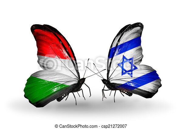 Two butterflies with flags on wings as symbol of relations Hungary and Israel - csp21272007
