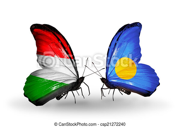 Two butterflies with flags on wings as symbol of relations Hungary and Palau - csp21272240