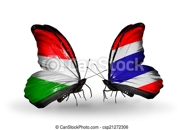 Two butterflies with flags on wings as symbol of relations Hungary and Thailand - csp21272306