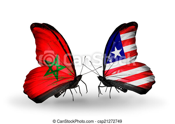 Two butterflies with flags on wings as symbol of relations Morocco and Liberia - csp21272749