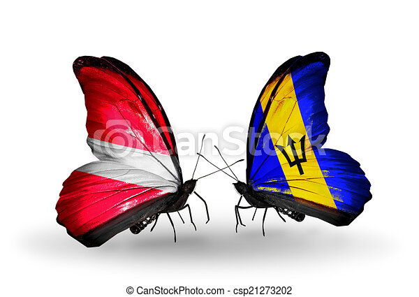 Two butterflies with flags on wings as symbol of relations Latvia and Barbados - csp21273202