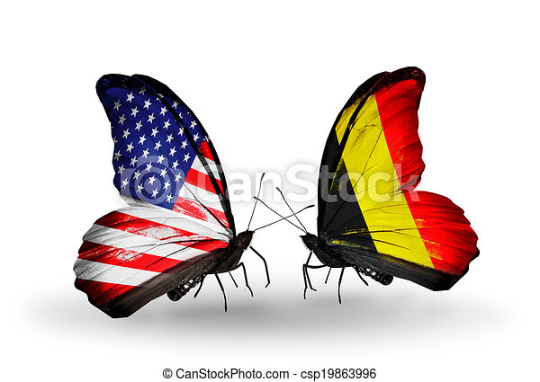 Two butterflies with flags on wings as symbol of relations USA and Belgium - csp19863996