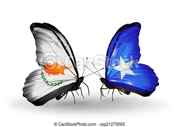Two butterflies with flags on wings as symbol of relations Cyprus and Somalia - csp21270093