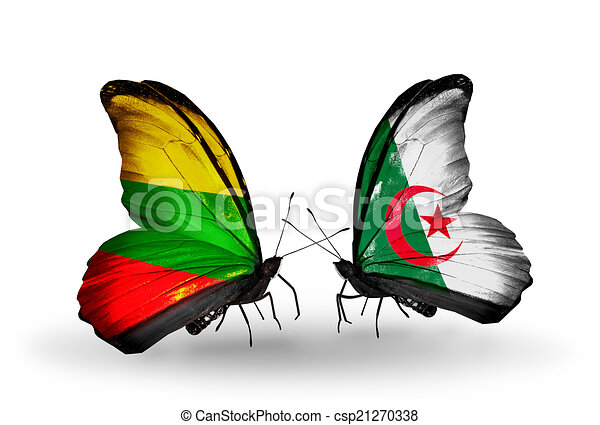 Two butterflies with flags on wings as symbol of relations Lithuania and Algeria - csp21270338