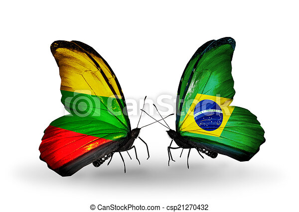 Two butterflies with flags on wings as symbol of relations Lithuania and Brazil - csp21270432