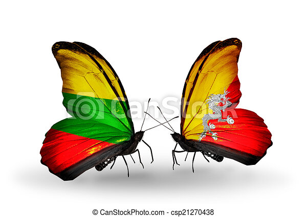 Two butterflies with flags on wings as symbol of relations Lithuania and Bhutan - csp21270438