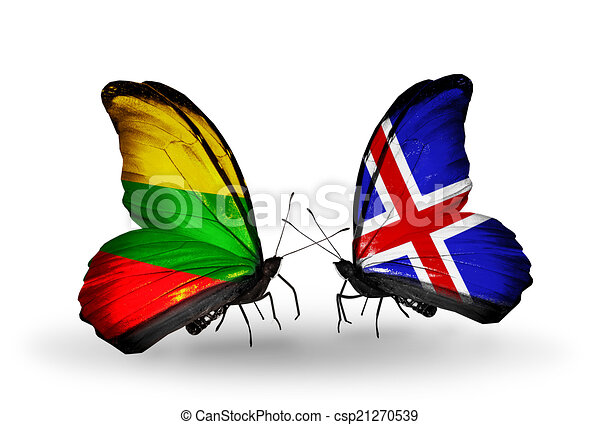 Two butterflies with flags on wings as symbol of relations Lithuania and Iceland - csp21270539