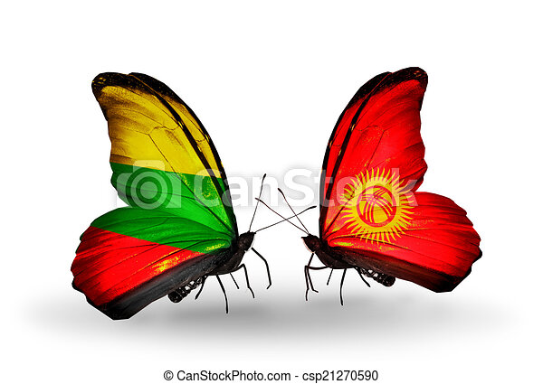 Two butterflies with flags on wings as symbol of relations Lithuania and Kirghiz - csp21270590