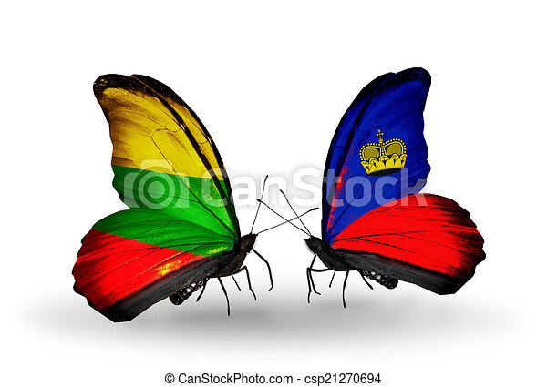 Two butterflies with flags on wings as symbol of relations Lithuania and Liechtenstein - csp21270694