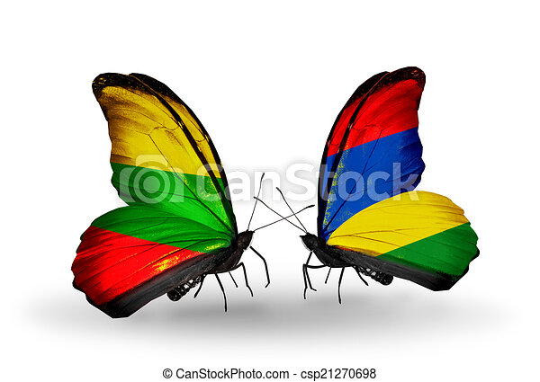 Two butterflies with flags on wings as symbol of relations Lithuania and Mauritius - csp21270698