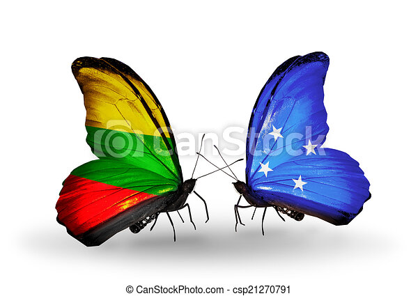 Two butterflies with flags on wings as symbol of relations Lithuania and Micronesia - csp21270791