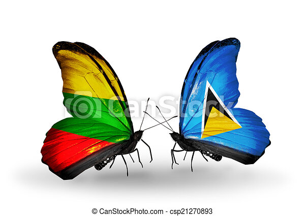 Two butterflies with flags on wings as symbol of relations Lithuania and Saint Lucia - csp21270893