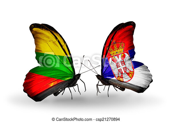 Two butterflies with flags on wings as symbol of relations Lithuania and Serbia - csp21270894
