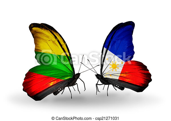 Two butterflies with flags on wings as symbol of relations Lithuania and Philippines - csp21271031