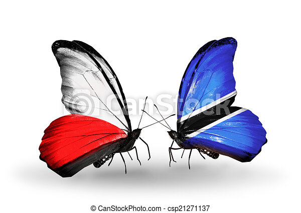 Two butterflies with flags on wings as symbol of relations Poland and Botswana - csp21271137