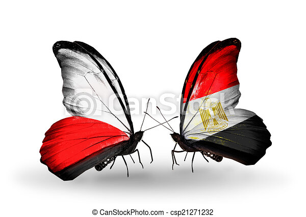Two butterflies with flags on wings as symbol of relations Poland and Egypt - csp21271232