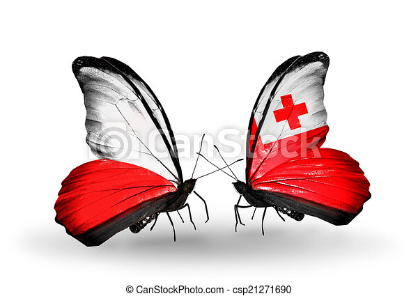 Two butterflies with flags on wings as symbol of relations Poland and Tonga - csp21271690
