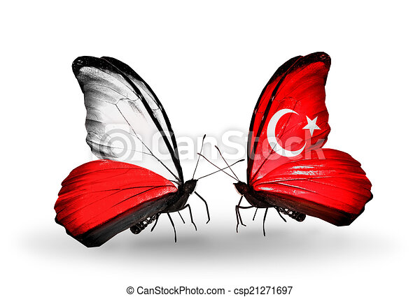 Two butterflies with flags on wings as symbol of relations Poland and Turkey - csp21271697