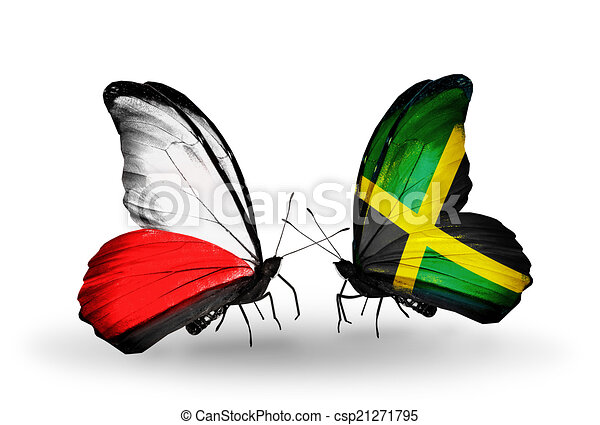 Two butterflies with flags on wings as symbol of relations Poland and Jamaica - csp21271795