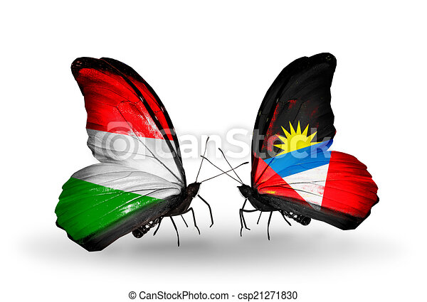 Two butterflies with flags on wings as symbol of relations Hungary and Antigua and Barbuda - csp21271830