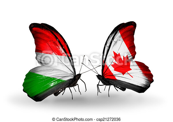 Two butterflies with flags on wings as symbol of relations Hungary and Canada - csp21272036