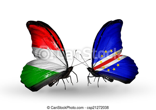 Two butterflies with flags on wings as symbol of relations Hungary and Cape Verde - csp21272038