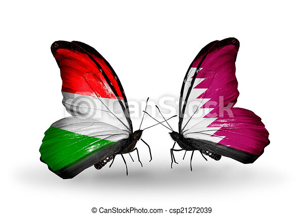Two butterflies with flags on wings as symbol of relations Hungary and Qatar - csp21272039