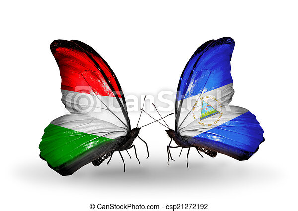 Two butterflies with flags on wings as symbol of relations Hungary and Nicaragua - csp21272192