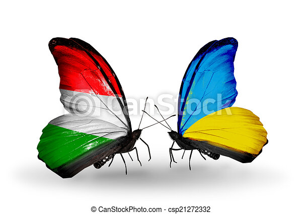 Two butterflies with flags on wings as symbol of relations Hungary and Ukraine - csp21272332