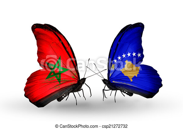 Two butterflies with flags on wings as symbol of relations Morocco and Kosovo - csp21272732