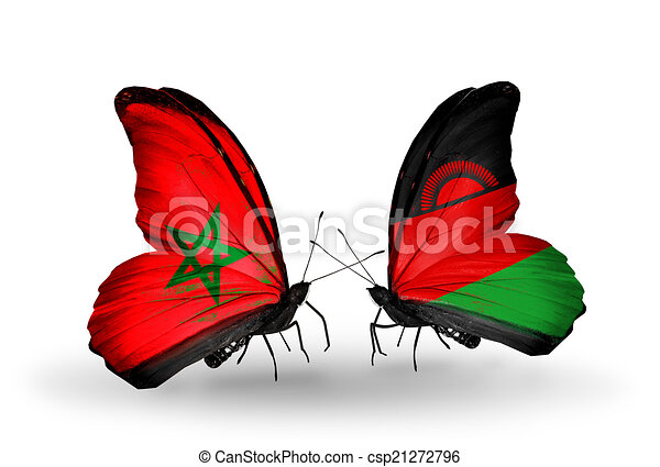 Two butterflies with flags on wings as symbol of relations Morocco and Malawi - csp21272796