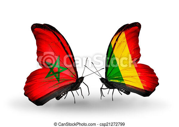 Two butterflies with flags on wings as symbol of relations Morocco and Mali - csp21272799
