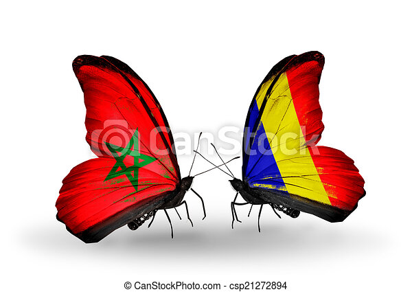 Two butterflies with flags on wings as symbol of relations Morocco and Chad, Romania - csp21272894