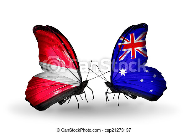Two butterflies with flags on wings as symbol of relations Latvia and Australia - csp21273137